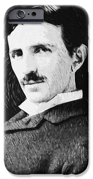 Electric Current iPhone Cases - Nikola Tesla iPhone Case by Taylan Soyturk