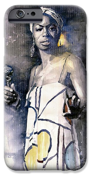 Watercolor Paintings iPhone Cases - Nina Simone iPhone Case by Yuriy  Shevchuk