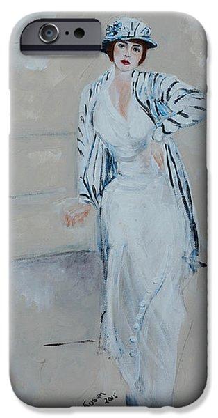 Twenties iPhone Cases - Nineteen Twenties Lady In Striped Jacket iPhone Case by Susan Adams