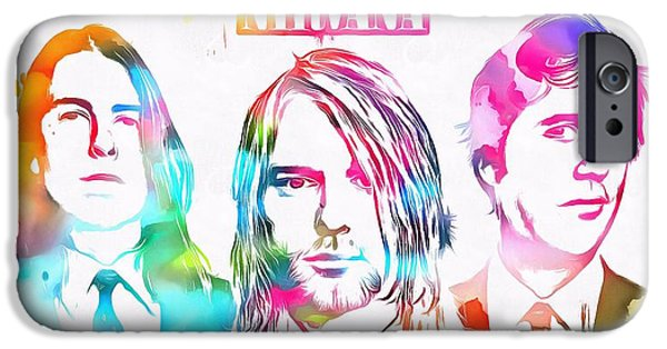 Dave Grohl iPhone Cases - Nirvana Watercolor Paint Splatter iPhone Case by Dan Sproul