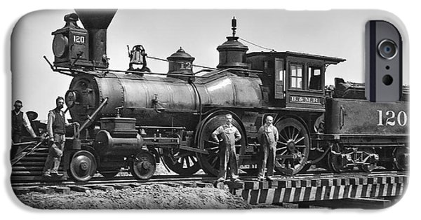 Lewiston iPhone Cases - No. 120 Early Railroad Locomotive iPhone Case by Daniel Hagerman