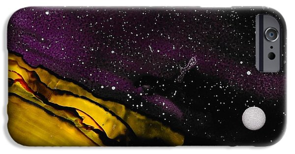 Stargazing Paintings iPhone Cases - No. 34 iPhone Case by J Amaya