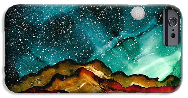 Stargazing Paintings iPhone Cases - No. 35 iPhone Case by Jen Amaya