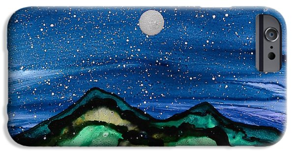 Stargazing Paintings iPhone Cases - No. 38 iPhone Case by Jen Amaya