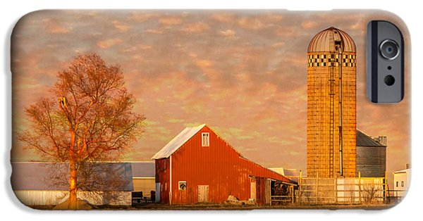 Field. Cloud iPhone Cases - Red Barn Sunset iPhone Case by Patti Deters