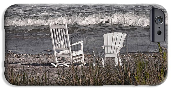 Adirondack Chairs On The Beach iPhone Cases - No Rush to be Anywhere Anytime Soon iPhone Case by Betsy C  Knapp