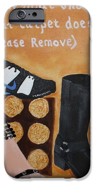 Nike Paintings iPhone Cases - No Shoes iPhone Case by Kimber  Butler