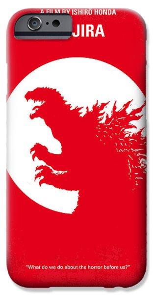 Drama iPhone Cases - No029-1 My Godzilla 1954 minimal movie poster iPhone Case by Chungkong Art