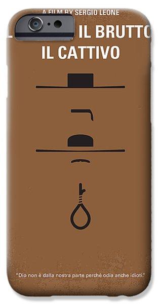 Graphic Design iPhone Cases - No042 My Il buono il brutto il cattivo minimal movie poster iPhone Case by Chungkong Art