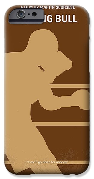 Graphic Design iPhone Cases - No174 My Raging Bull minimal movie poster iPhone Case by Chungkong Art