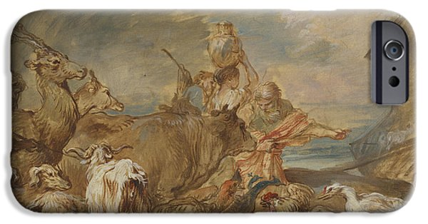 Animal Drawings iPhone Cases - Noah Leading The Animals Into The Ark iPhone Case by Giovanni Benedetto Castiglione