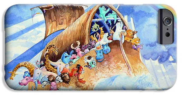 Noahs Ark Paintings iPhone Cases - Noahs Ark iPhone Case by Hanne Lore Koehler