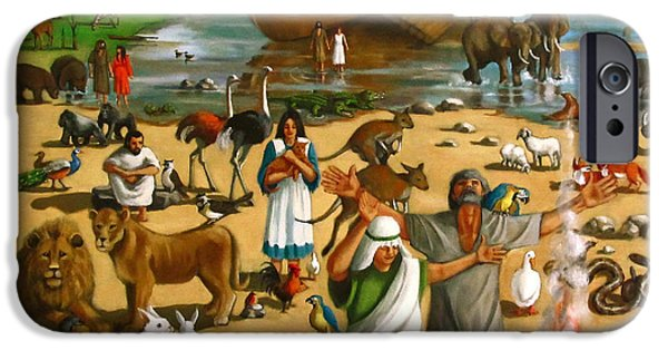 Noahs Ark Paintings iPhone Cases - Noahs Ark Mural iPhone Case by Joyce Geleynse