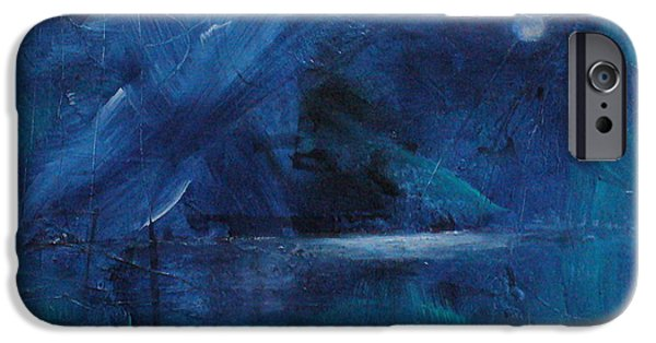 Abstract Seascape iPhone Cases - Nocturne iPhone Case by Mary Sullivan