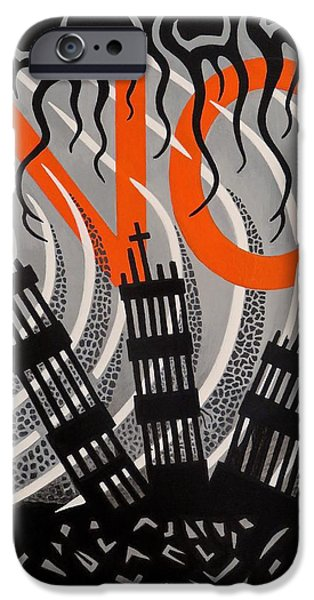 Twin Towers Nyc iPhone Cases - No...never Again iPhone Case by Derek Ian Kemp