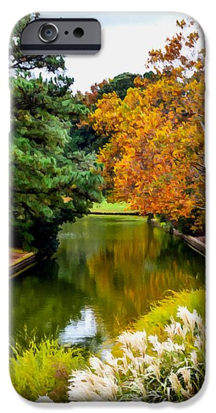 Garden Scene Paintings iPhone Cases - Norfolk Botanical Gardens Canal  8 iPhone Case by Lanjee Chee