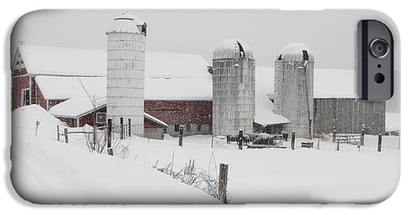 Red Barn In Winter iPhone Cases - Norms barn Athens Vermont iPhone Case by Mark  Linton