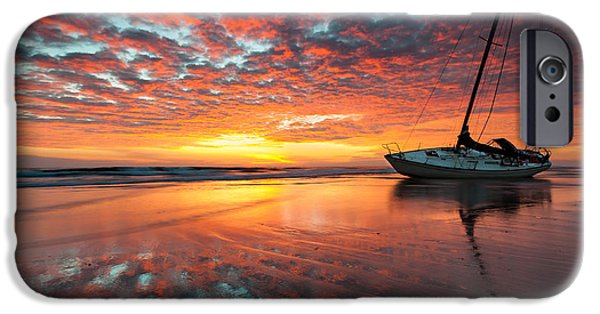 North Sea iPhone Cases - North Carolina Outer Banks Cape Hatteras National Seashore Shipwreck Sunrise iPhone Case by Mark VanDyke