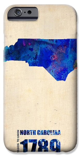 World Map Poster Digital Art iPhone Cases - North Carolina Watercolor Map iPhone Case by Naxart Studio