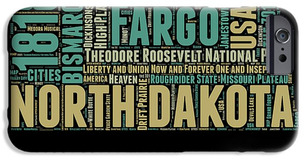 4th July Mixed Media iPhone Cases - North Dakota Word Cloud 1 iPhone Case by Naxart Studio
