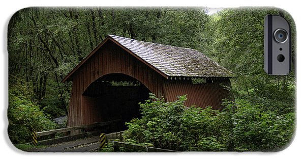 Covered Bridge iPhone Cases - North Fork Yachats Bridge iPhone Case by Tim Moore