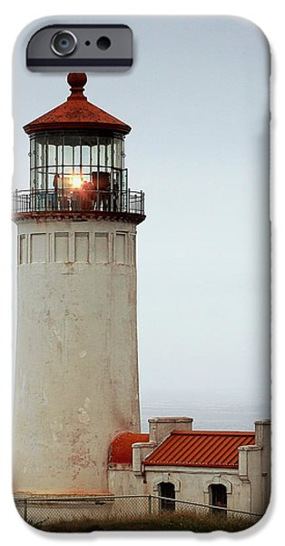 Head Harbour Lighthouse iPhone Cases - North Head Lighthouse - Ilwaco on Washingtons Southwest Coast iPhone Case by Christine Till