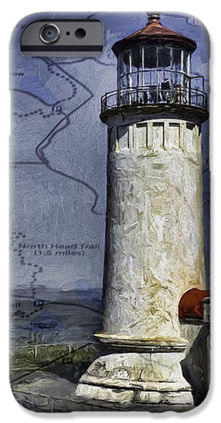 House iPhone Cases - North Head Lighthouse Map iPhone Case by Jean OKeeffe Macro Abundance Art