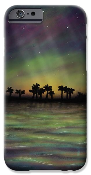 Beach Landscape iPhone Cases - Northern lights in the tropics? Why not? iPhone Case by Siriporn Wachter