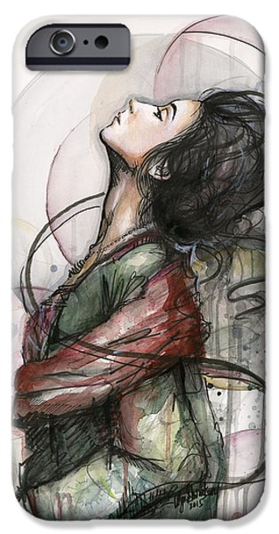 Figures Paintings iPhone Cases - North  iPhone Case by Olga Shvartsur