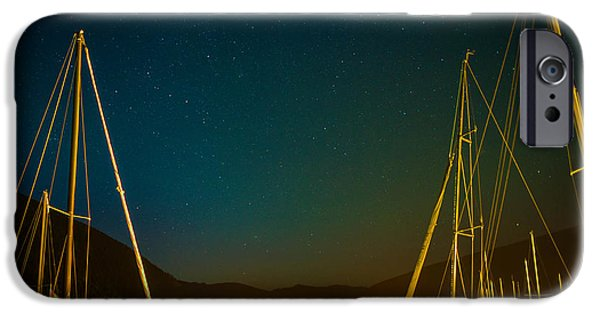 Sailboats iPhone Cases - Northern Light Glow Over Nelson iPhone Case by Joy McAdams