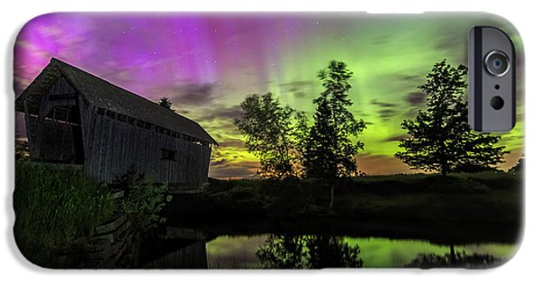 Covered Bridge iPhone Cases - Northern Lights Reflection iPhone Case by John Vose