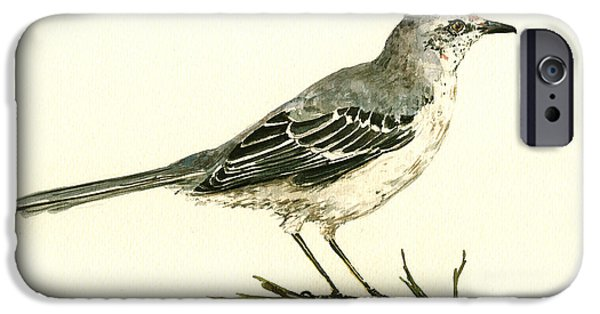 Small iPhone Cases - Northern Mockingbird iPhone Case by Juan  Bosco