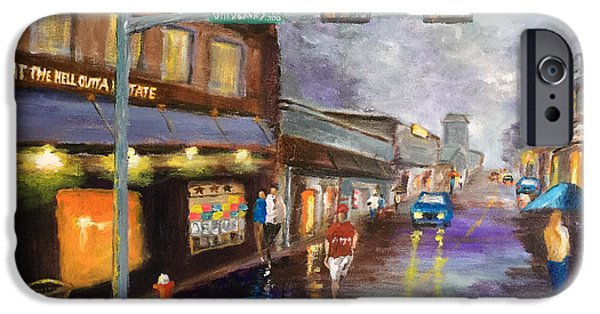 Walking Beat iPhone Cases - A Rainy Night in Northgate iPhone Case by Daniel Xiao