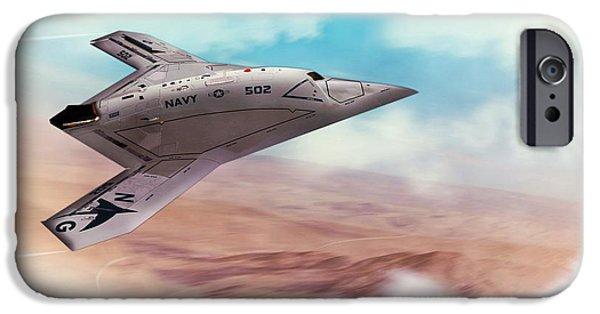 Iraq iPhone Cases - Northrop Grumman X47B Drone iPhone Case by John Wills