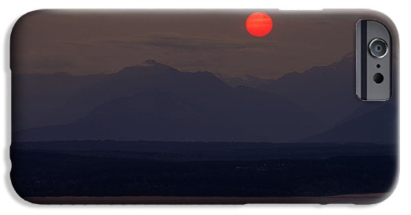 Wildfire iPhone Cases - Northwest Red Sunset Over the Olympics iPhone Case by Mike Reid