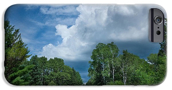 Clouds iPhone Cases - Northwoods Road Trip iPhone Case by Steve Gadomski