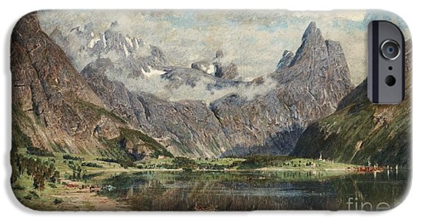 Norway Drawings iPhone Cases - Norwegian fjord landscape iPhone Case by Celestial Images