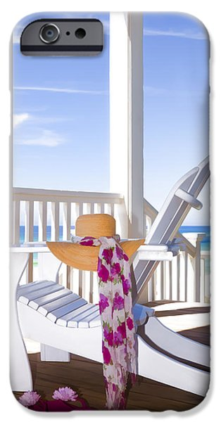 Seaside Digital Art iPhone Cases - Nothing But Time iPhone Case by Janet Fikar