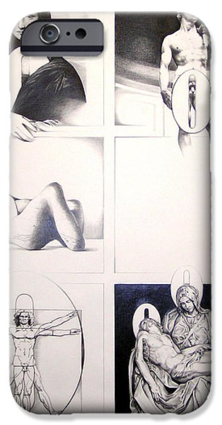 Michaelangelos David Drawings iPhone Cases - Nothing Can Be Added iPhone Case by Amy S Turner