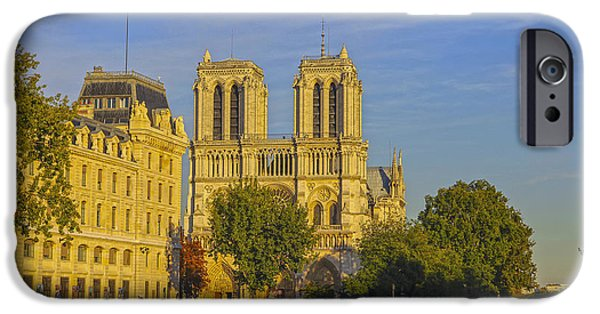 Autumn iPhone Cases - Notre Dame at sunset iPhone Case by Patricia Hofmeester