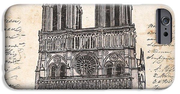 Pen And Ink iPhone Cases - Notre Dame de Paris iPhone Case by Debbie DeWitt