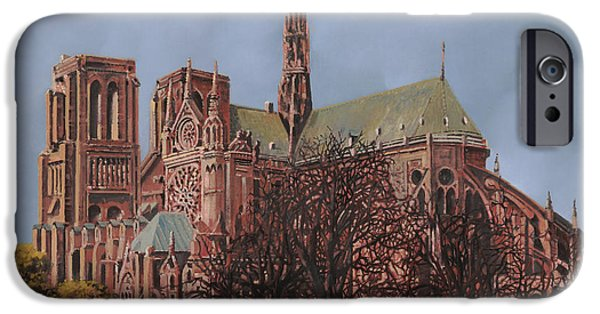 Universities Paintings iPhone Cases - Notre-Dame iPhone Case by Guido Borelli