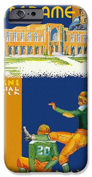 Golden Gophers iPhone Cases - Notre Dame versus Minnesota 1938 Program iPhone Case by Big 88 Artworks