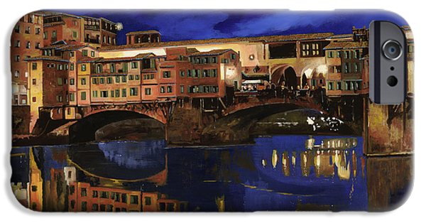 Reflection Paintings iPhone Cases - Notturno Fiorentino iPhone Case by Guido Borelli
