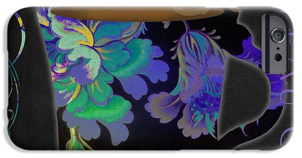 Art Nouveau Flower iPhone Cases - Nouveau Cafe Cool iPhone Case by Mindy Sommers
