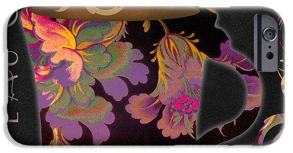 Art Nouveau Flower iPhone Cases - Nouveau Cafe Warm iPhone Case by Mindy Sommers