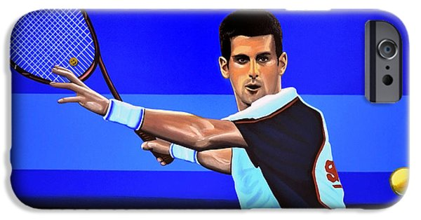 French Open Paintings iPhone Cases - Novak Djokovic iPhone Case by Paul  Meijering