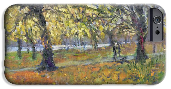 Fall Scenes iPhone Cases - November in Hyde Park iPhone Case by Patricia Espir