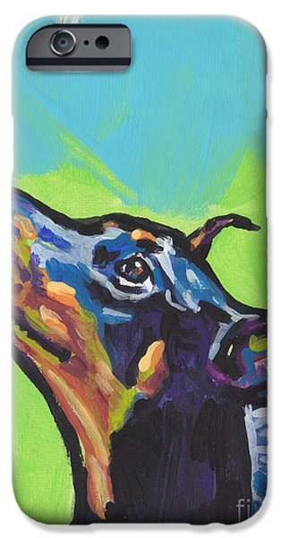 Doberman iPhone Cases - Noving Like A Dobie iPhone Case by Lea