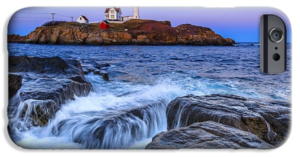 Nubble Lighthouse iPhone Cases - Nubble at Dusk iPhone Case by Tony Baldasaro